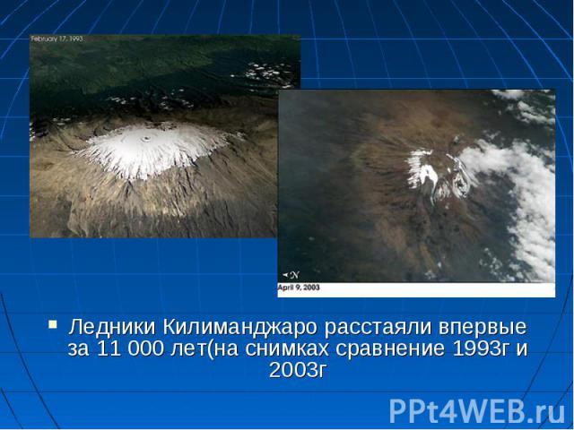 Ледники Килиманджаро расстаяли впервые за 11 000 лет(на снимках сравнение 1993г и 2003г Ледники Килиманджаро расстаяли впервые за 11 000 лет(на снимках сравнение 1993г и 2003г