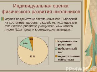 Изучая воздействие загрязнения пос.Львовский на состояние здоровья людей, мы исс