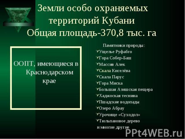 ООПТ, имеющиеся в Краснодарском крае
