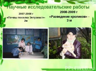 2007-2008 г 2007-2008 г «Почвы поселка Энтузиаст»- 2м