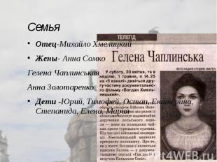 Семья Отец-Михайло Хмелицкий Жены- Анна Сомко Гелена Чаплинськая Анна Золотаренк