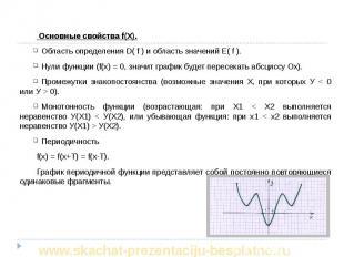 Основные свойства f(X). Основные свойства f(X). Область определения D( f ) и обл