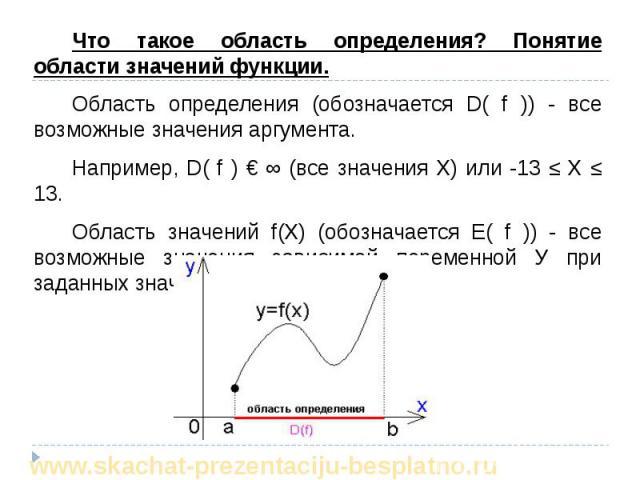 Что такое область определения? Понятие области значений функции. Что такое область определения? Понятие области значений функции. Область определения (обозначается D( f )) - все возможные значения аргумента. Например, D( f ) € ∞ (все значения Х) или…