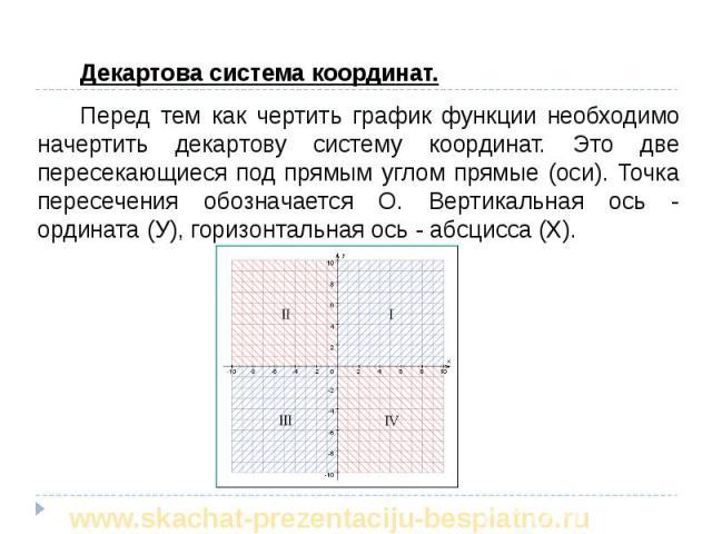 Декартова система координат. Декартова система координат. Перед тем как чертить график функции необходимо начертить декартову систему координат. Это две пересекающиеся под прямым углом прямые (оси). Точка пересечения обозначается О. Вертикальная ось…