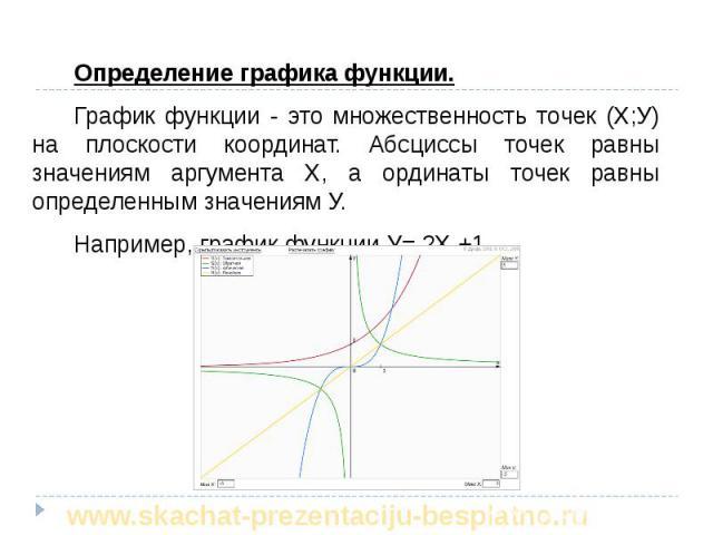 Определение графика функции. Определение графика функции. График функции - это множественность точек (Х;У) на плоскости координат. Абсциссы точек равны значениям аргумента Х, а ординаты точек равны определенным значениям У. Например, график функции …