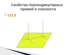 Свойства перпендикулярных прямой и плоскости Т.17.3