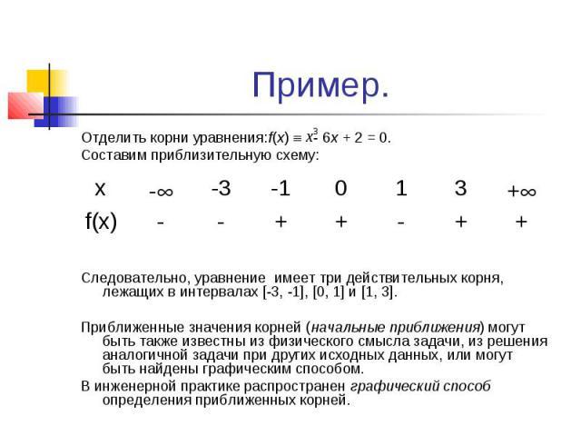 Пример. Отделить корни уравнения:f(x) - 6х + 2 = 0. Составим приблизительную схему: Следовательно, уравнение имеет три действительных корня, лежащих в интервалах [-3, -1], [0, 1] и [1, 3]. Приближенные значения корней (начальные приближения) могут б…