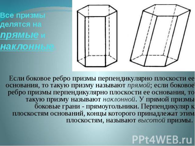 Все призмы делятся на прямые и наклонные. Если боковое ребро призмы перпендикулярно плоскости ее основания, то такую призму называют прямой; если боковое ребро призмы перпендикулярно плоскости ее основания, то такую призму называют наклонной. У прям…