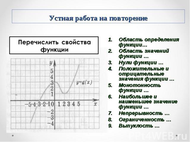 Область определения функции… Область определения функции… Область значений функции … Нули функции … Положительные и отрицательные значения функции … Монотонность функции … Наибольшее и наименьшее значение функции … Непрерывность … Ограниченность … В…