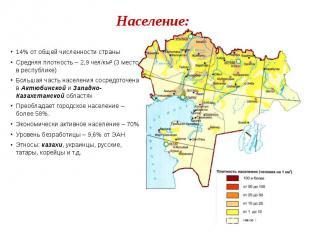 Население: 14% от общей численности страны Средняя плотность – 2,9 чел/км² (3 ме