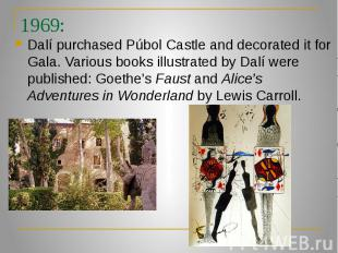 1969: Dalí purchased Púbol Castle and decorated it for Gala. Various books illus