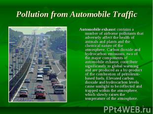 Automobile exhaust contains a number of airborne pollutants that adversely affec