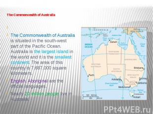 The Commonwealth of Australia   The Commonwealth of Australia is sit