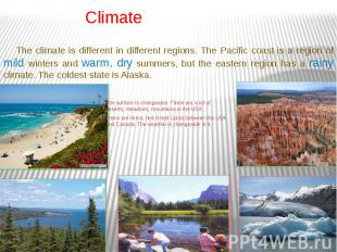 Climate The surface is changeable. There are a lot of deserts, meadows, mountain