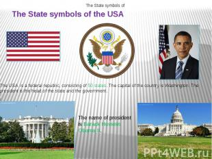 The State symbols of the USA The USA is a federal republic, consisting of