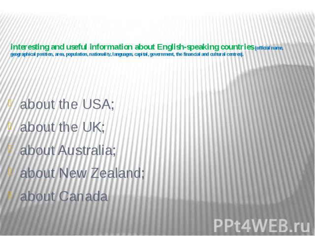 interesting and useful information about English-speaking countries (official name, geographical position, area, population, nationality, languages, capital, government, the financial and cultural centres). about the USA; about the UK; about Austral…