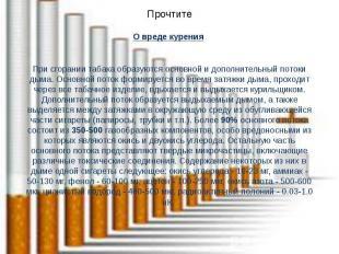 Прочтите О вреде курения При сгорании табака образуются основной и дополнительны
