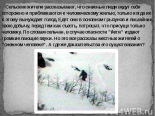 Сельские жители рассказывают, что снежные люди ведут себя осторожно и приближают