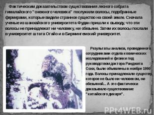"""Фактическим доказательством существования лесного собрата гималайского """"сне"""