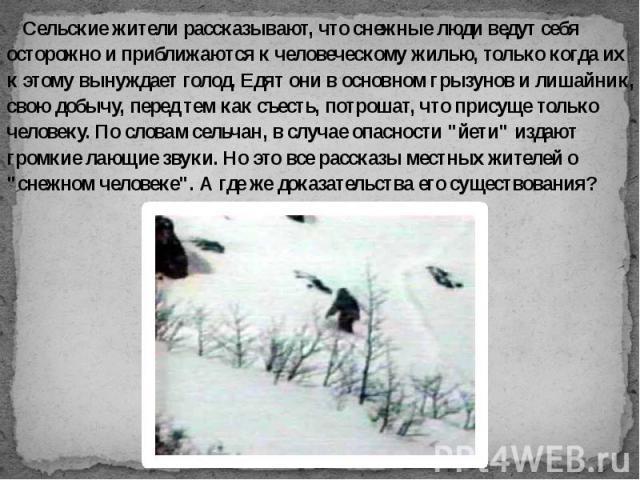 Сельские жители рассказывают, что снежные люди ведут себя осторожно и приближаются к человеческому жилью, только когда их к этому вынуждает голод. Едят они в основном грызунов и лишайник, свою добычу, перед тем как съесть, потрошат, что присуще толь…