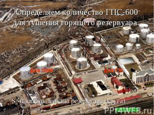 Определяем количество ГПС-600 для тушения горящего резервуара.