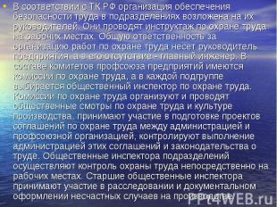 В соответствии с ТК РФ организация обеспечения безопасности труда в подразделени