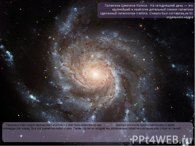 Телескоп Хабл видит множество галактик,но свет большинства из них покинул источник тысячи,миллионы и даже миллиарды лет назад. Все это время он летел к нам. Таким образом сегодня мы обозреваем галактики,которые уже стали историей. Телескоп Хабл види…