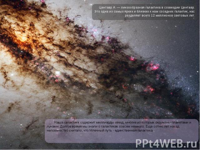 Наша галактика содержит миллиарды звезд, многие из которых окружены планетами и лунами. Долгое время мы знали о галактиках совсем немного. Еще сотню лет назад человечество считало, что Млечный путь - единственная галактика. Наша галактика содержит м…