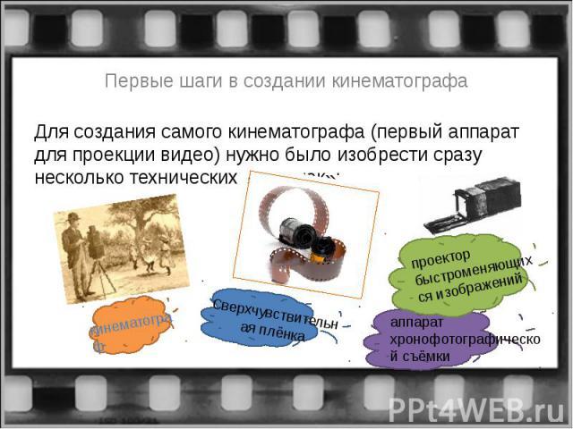 Первые шаги в создании кинематографаДля создания самого кинематографа (первый аппарат для проекции видео) нужно было изобрести сразу несколько технических «новинок»: