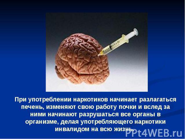 При употреблении наркотиков начинает разлагаться печень, изменяют свою работу почки и вслед за ними начинают разрушаться все органы в организме, делая употребляющего наркотики инвалидом на всю жизнь.