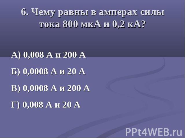 А) 0,008 А и 200 А Б) 0,0008 А и 20 А В) 0,0008 А и 200 А Г) 0,008 А и 20 А