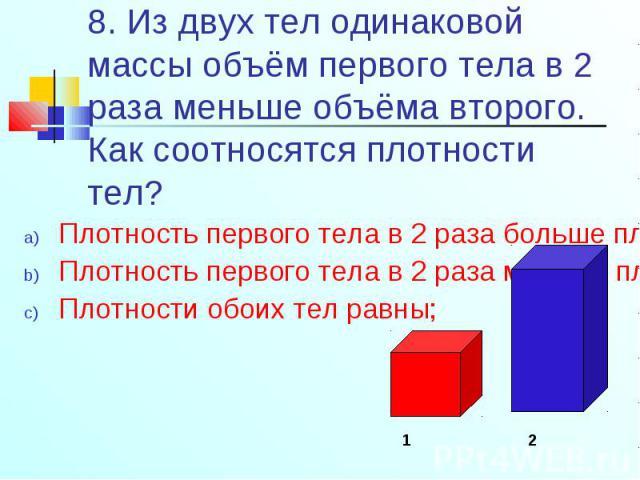 Плотность первого тела в 2 раза больше плотности второго; Плотность первого тела в 2 раза больше плотности второго; Плотность первого тела в 2 раза меньше плотности второго; Плотности обоих тел равны;