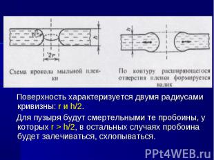 Поверхность характеризуется двумя радиусами кривизны: r и h/2. Поверхность харак