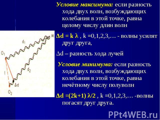 Условие максимума: если разность хода двух волн, возбуждающих колебания в этой точке, равна целому числу длин волн Условие максимума: если разность хода двух волн, возбуждающих колебания в этой точке, равна целому числу длин волн Δd = k λ , k =0,1,2…