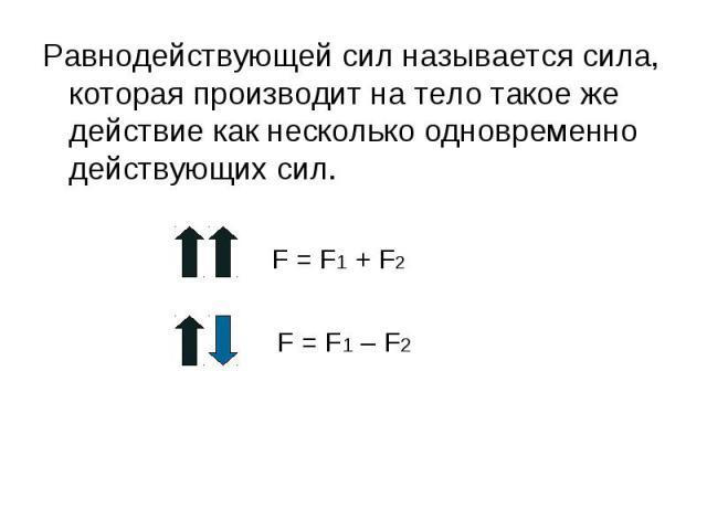 Равнодействующей сил называется сила, которая производит на тело такое же действие как несколько одновременно действующих сил. Равнодействующей сил называется сила, которая производит на тело такое же действие как несколько одновременно действующих сил.