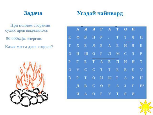 Задача При полном сгорании сухих дров выделилось 50 000кДж энергии. Какая масса дров сгорела?