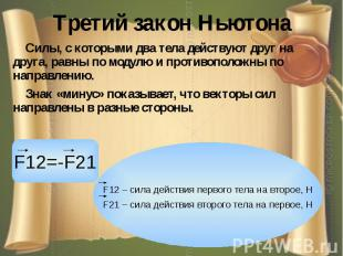 Третий закон Ньютона Силы, с которыми два тела действуют друг на друга, равны по