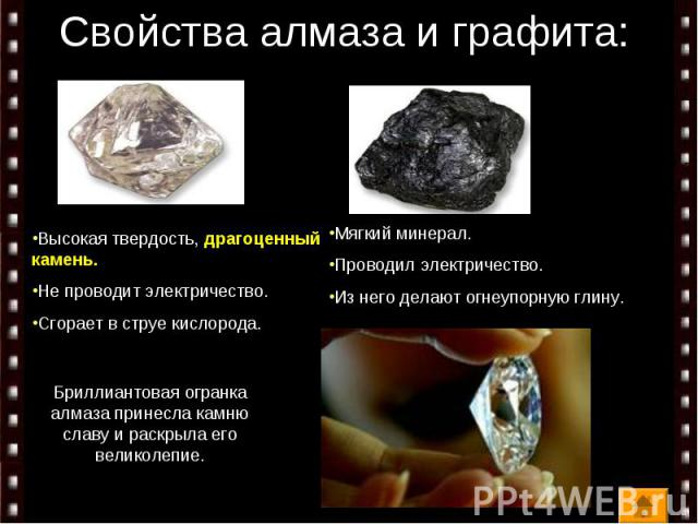 Свойства алмаза и графита: