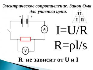 Электрическое сопротивление. Закон Ома для участка цепи. Электрическое сопротивл