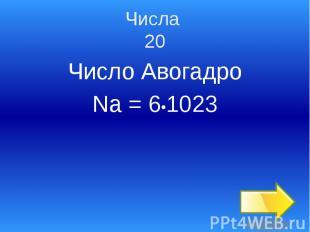 Числа 20 Число Авогадро Na = 6•1023