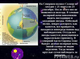 На Северном полюсе Солнце не заходит с 21 марта по 23 сентября. После этого оно