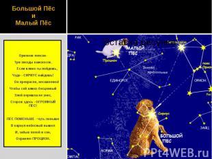 Большой Пёс и Малый Пёс Орионов поясок- Три звезды наискосок. Если влево ты пойд