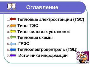 Оглавление Тепловые электростанции (ТЭС) Типы ТЭС Типы силовых установок Тепловы