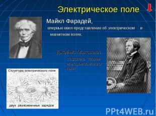 Майкл Фарадей, Майкл Фарадей, впервые ввел представление об электрическом и магн