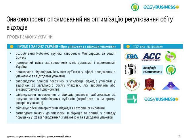 Знаконопроект спрямований на оптимізацію регулювання обігу відходів