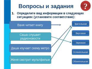 Вопросы и задания Определите вид информации в следующих ситуациях (установите со