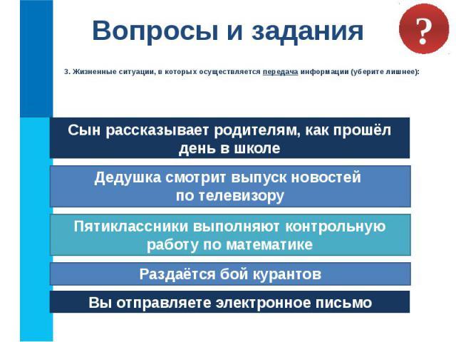 Вопросы и задания 3. Жизненные ситуации, в которых осуществляется передача информации (уберите лишнее):