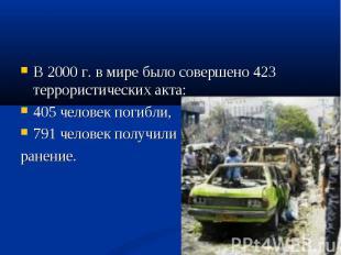 В 2000 г. в мире было совершено 423 террористических акта: В 2000 г. в мире было