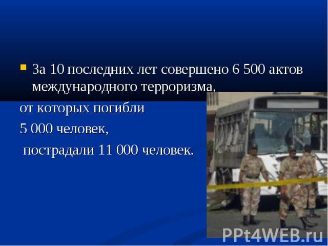 За 10 последних лет совершено 6 500 актов международного терроризма, За 10 последних лет совершено 6 500 актов международного терроризма, от которых погибли 5 000 человек, пострадали 11 000 человек.