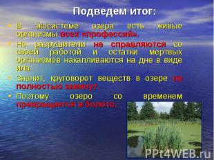 Подведем итог:В экосистеме озера есть живые организмы всех «профессий». Но разру